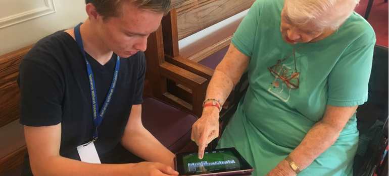 Greenwich Student Volunteer Connects Nathaniel Witherell Residents to Technology